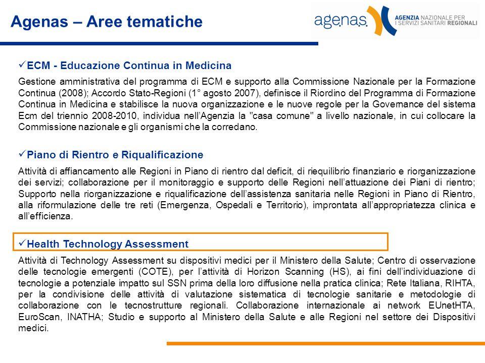 Agenas – Aree tematiche ECM - Educazione Continua in Medicina Gestione amministrativa del programma di ECM e supporto alla Commissione Nazionale per l