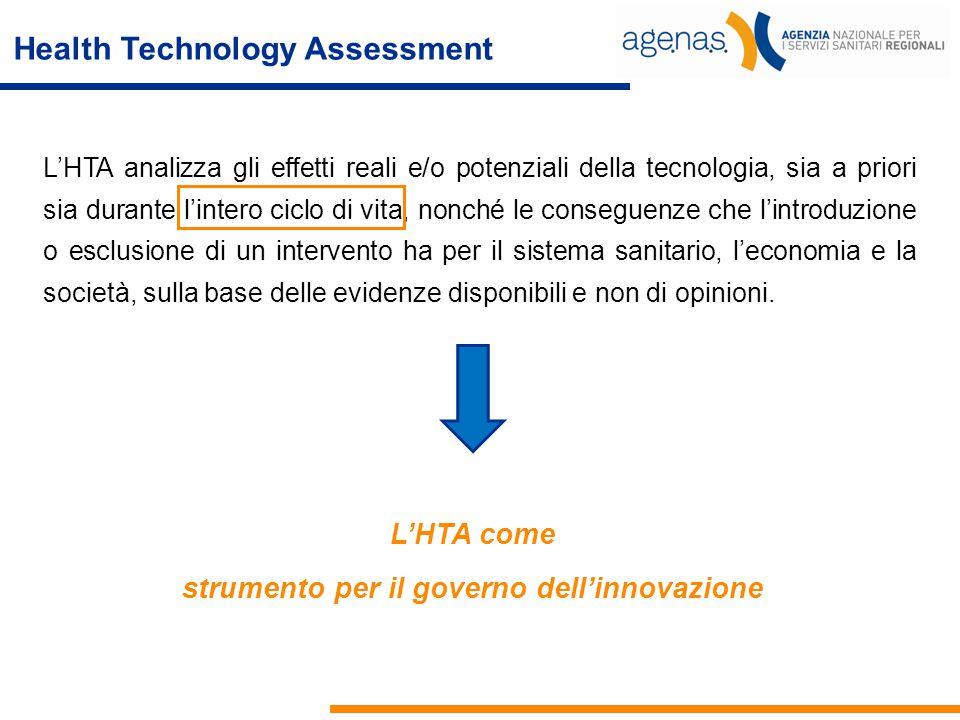 Health Technology Assessment L'HTA analizza gli effetti reali e/o potenziali della tecnologia, sia a priori sia durante l'intero ciclo di vita, nonché