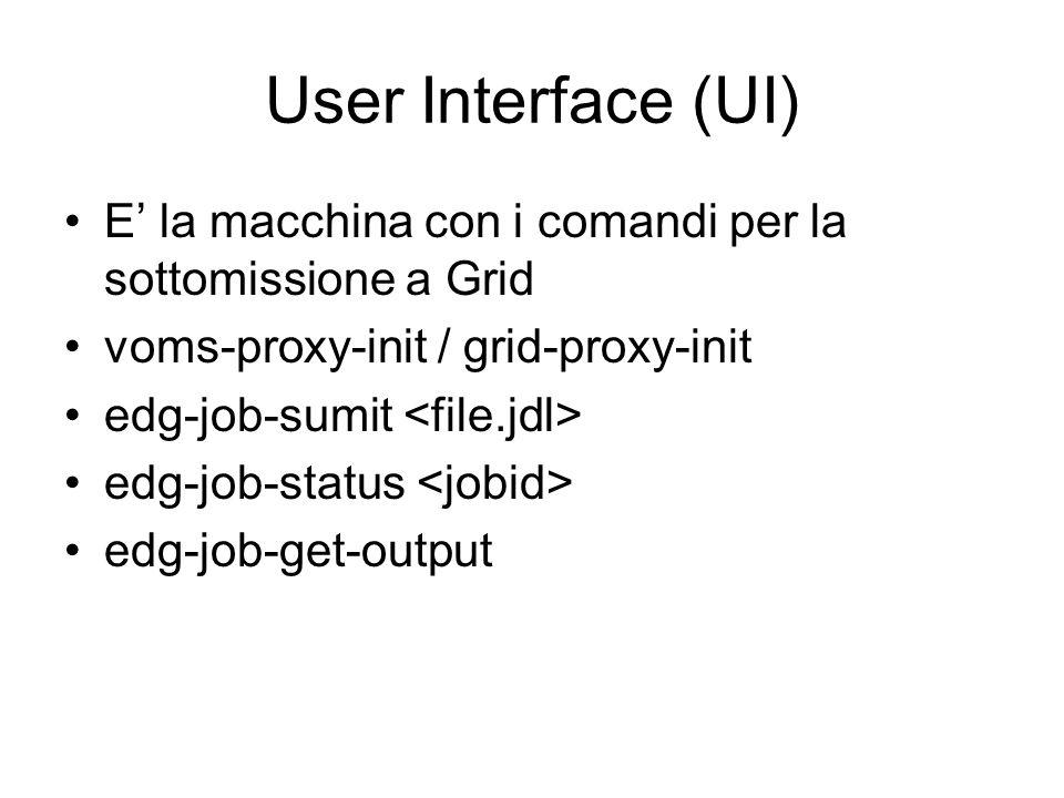 User Interface (UI) E' la macchina con i comandi per la sottomissione a Grid voms-proxy-init / grid-proxy-init edg-job-sumit edg-job-status edg-job-get-output