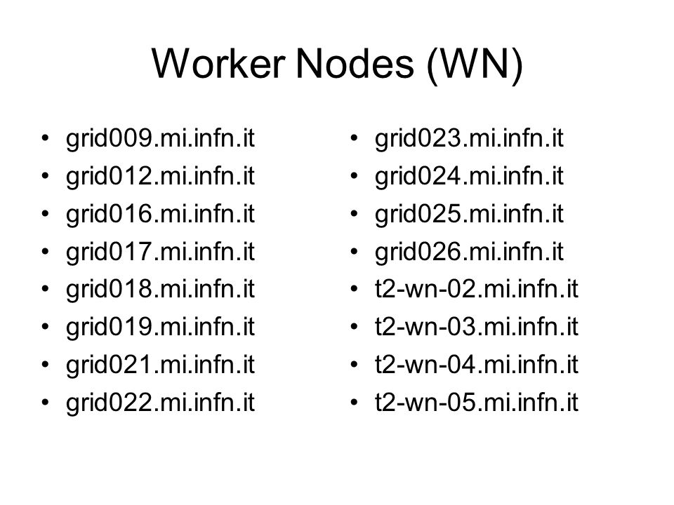Worker Nodes (WN) grid009.mi.infn.it grid012.mi.infn.it grid016.mi.infn.it grid017.mi.infn.it grid018.mi.infn.it grid019.mi.infn.it grid021.mi.infn.it grid022.mi.infn.it grid023.mi.infn.it grid024.mi.infn.it grid025.mi.infn.it grid026.mi.infn.it t2-wn-02.mi.infn.it t2-wn-03.mi.infn.it t2-wn-04.mi.infn.it t2-wn-05.mi.infn.it