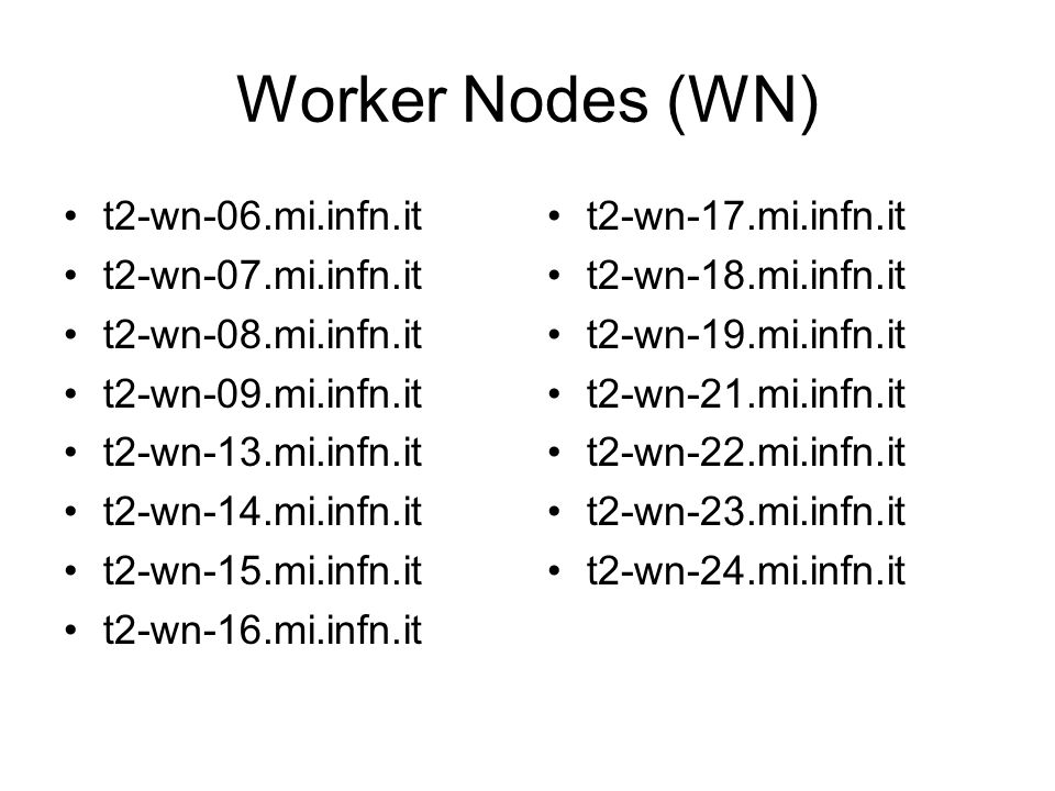 Worker Nodes (WN) t2-wn-06.mi.infn.it t2-wn-07.mi.infn.it t2-wn-08.mi.infn.it t2-wn-09.mi.infn.it t2-wn-13.mi.infn.it t2-wn-14.mi.infn.it t2-wn-15.mi.infn.it t2-wn-16.mi.infn.it t2-wn-17.mi.infn.it t2-wn-18.mi.infn.it t2-wn-19.mi.infn.it t2-wn-21.mi.infn.it t2-wn-22.mi.infn.it t2-wn-23.mi.infn.it t2-wn-24.mi.infn.it