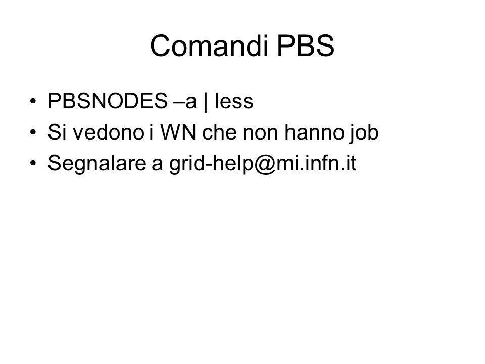 Comandi PBS PBSNODES –a | less Si vedono i WN che non hanno job Segnalare a grid-help@mi.infn.it