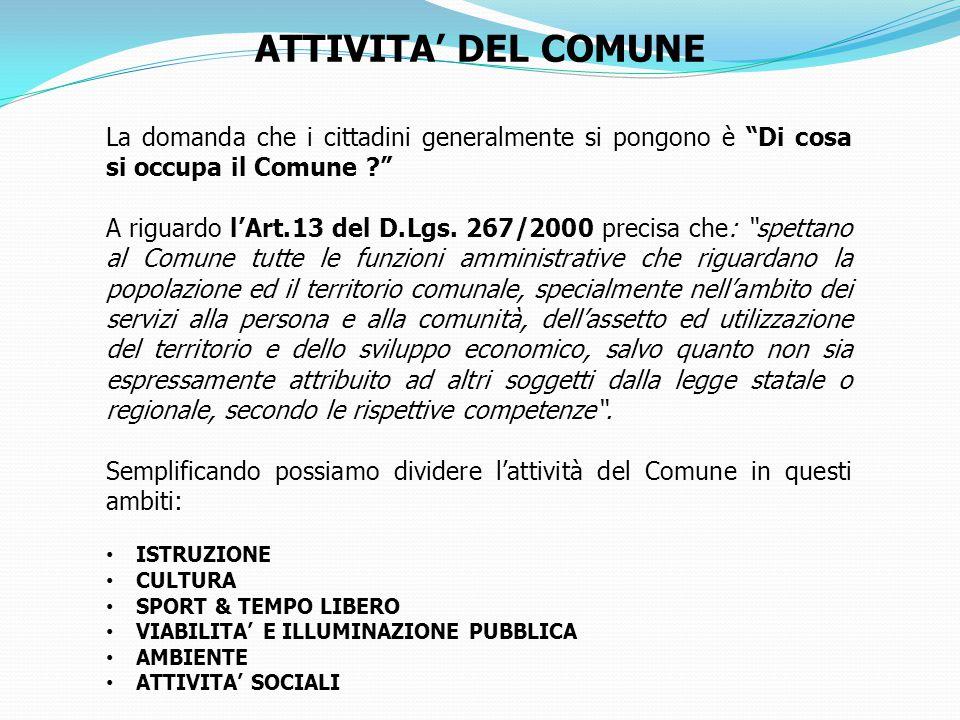 La domanda che i cittadini generalmente si pongono è Di cosa si occupa il Comune ? A riguardo l'Art.13 del D.Lgs.