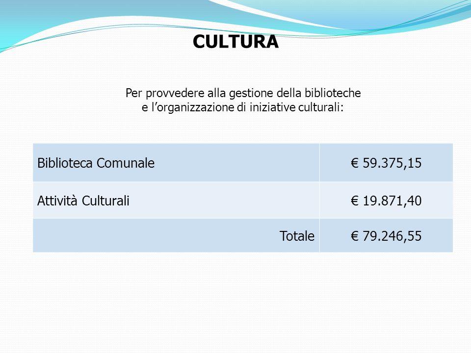 Per provvedere alla gestione della biblioteche e l'organizzazione di iniziative culturali: CULTURA Biblioteca Comunale€ 59.375,15 Attività Culturali€ 19.871,40 Totale€ 79.246,55