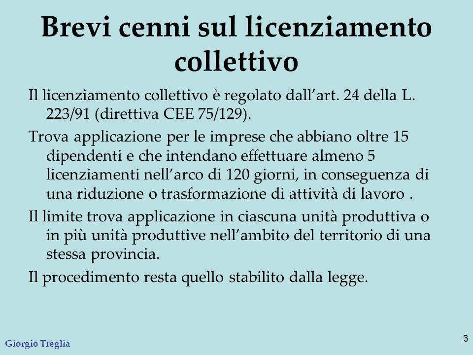 Brevi cenni sul licenziamento collettivo Il licenziamento collettivo è regolato dall'art. 24 della L. 223/91 (direttiva CEE 75/129). Trova applicazion