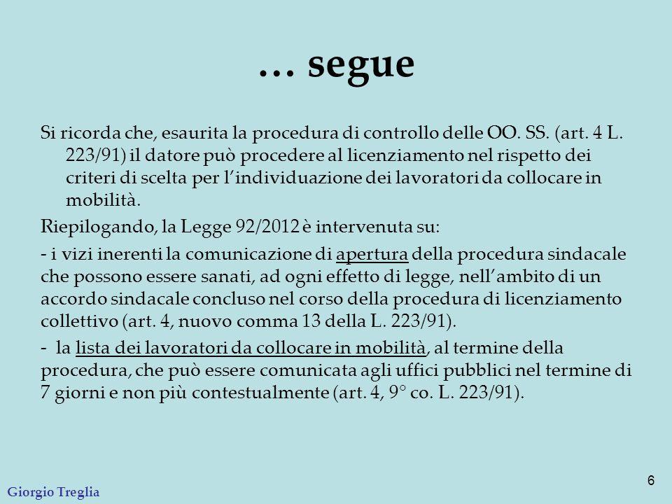 … segue Si ricorda che, esaurita la procedura di controllo delle OO. SS. (art. 4 L. 223/91) il datore può procedere al licenziamento nel rispetto dei
