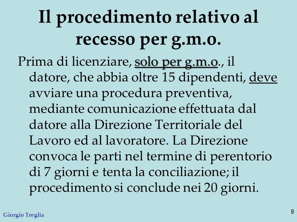 Il procedimento relativo al recesso per g.m.o. solo per g.m.o Prima di licenziare, solo per g.m.o., il datore, che abbia oltre 15 dipendenti, deve avv