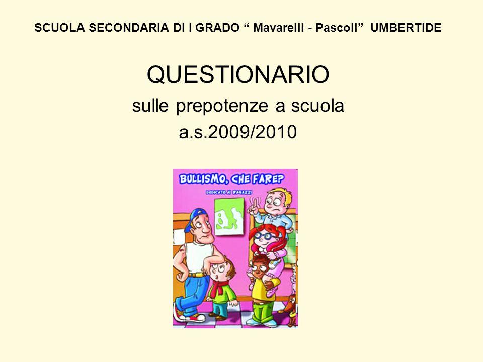 """SCUOLA SECONDARIA DI I GRADO """" Mavarelli - Pascoli"""" UMBERTIDE QUESTIONARIO sulle prepotenze a scuola a.s.2009/2010"""