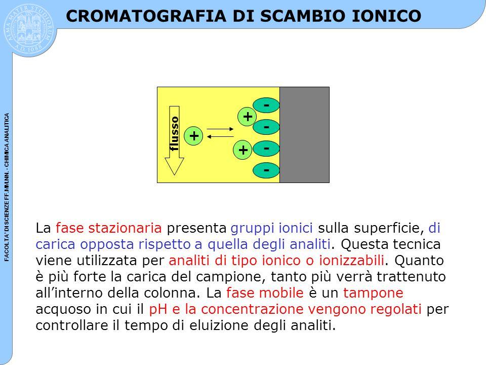 FACOLTA' DI SCIENZE FF.MM.NN. - CHIMICA ANALITICA CROMATOGRAFIA DI SCAMBIO IONICO La fase stazionaria presenta gruppi ionici sulla superficie, di cari