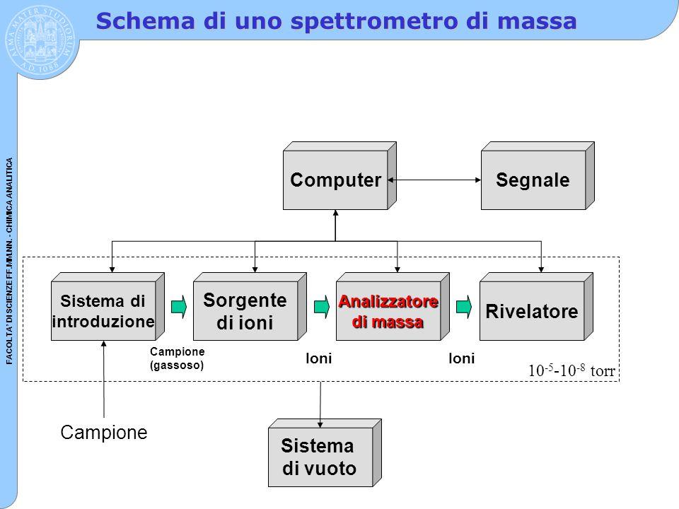 FACOLTA' DI SCIENZE FF.MM.NN. - CHIMICA ANALITICA Schema di uno spettrometro di massa Sistema di introduzione Sorgente di ioniAnalizzatore di massa Si