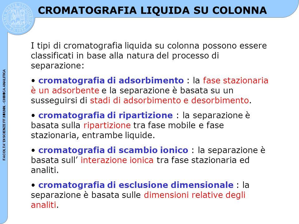 FACOLTA' DI SCIENZE FF.MM.NN. - CHIMICA ANALITICA CROMATOGRAFIA LIQUIDA SU COLONNA I tipi di cromatografia liquida su colonna possono essere classific