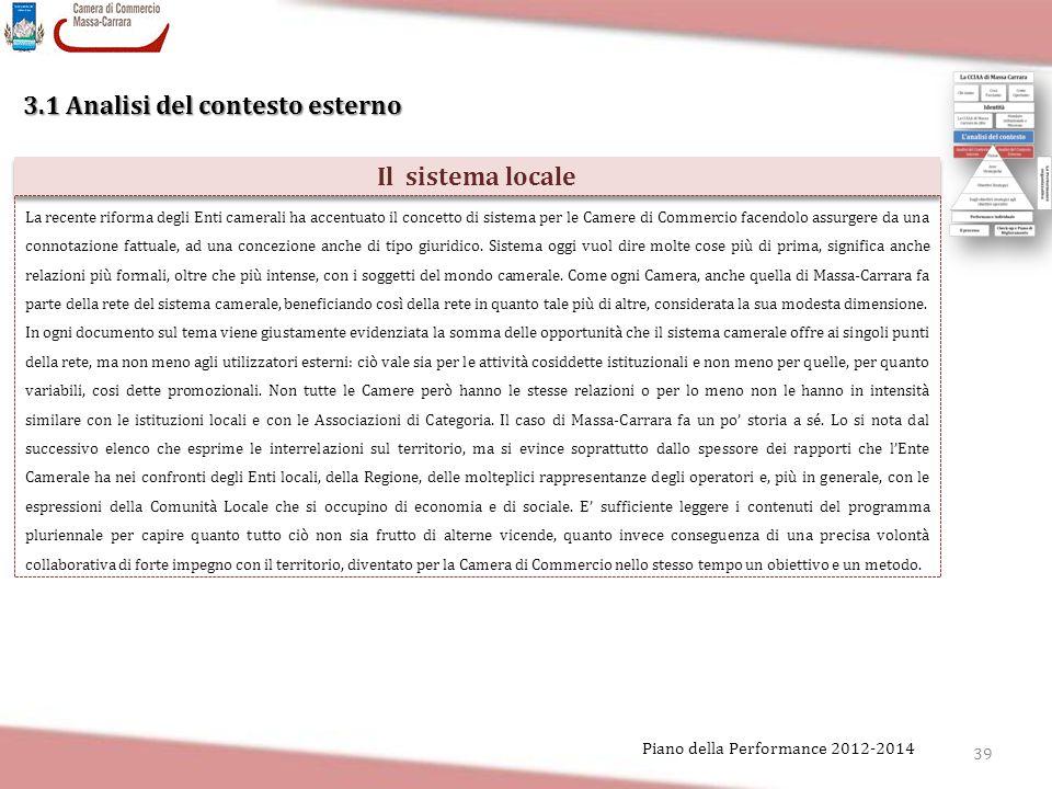 39 Piano della Performance 2012-2014 3.1 Analisi del contesto esterno Il sistema locale La recente riforma degli Enti camerali ha accentuato il concet