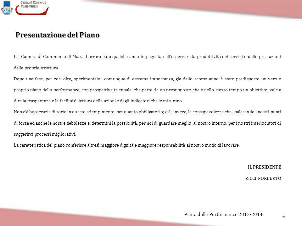 4 Piano della Performance 2012-2014 Presentazione del Piano La Camera di Commercio di Massa Carrara è da qualche anno impegnata nell'osservare la prod