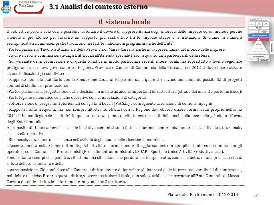 40 Piano della Performance 2012-2014 3.1 Analisi del contesto esterno Il sistema locale Un obiettivo perché solo così è possibile rafforzare il dovere