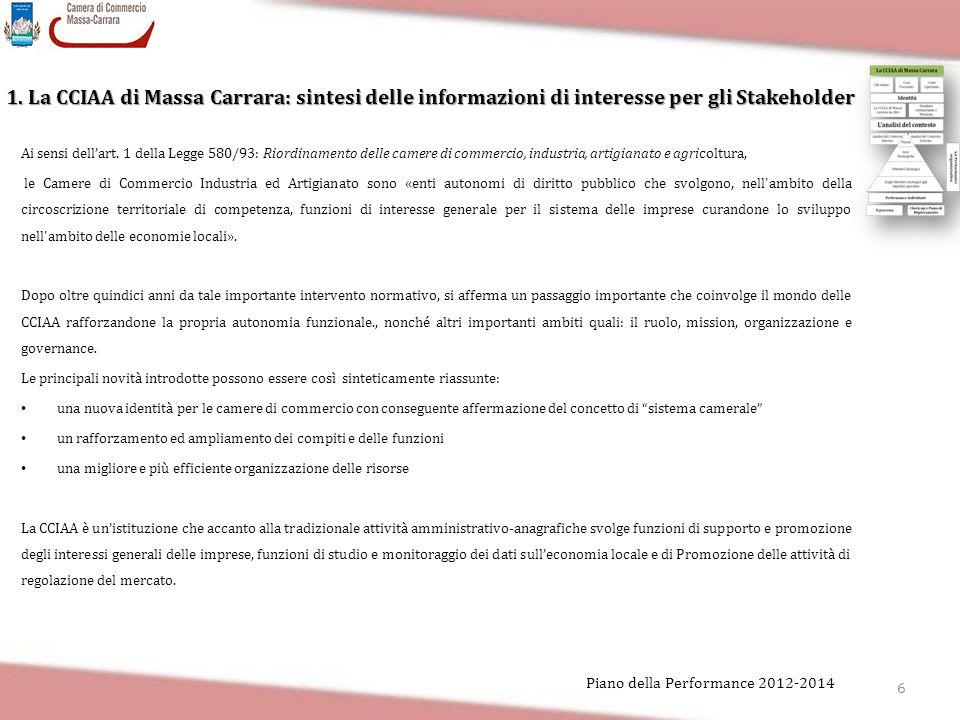 6 Piano della Performance 2012-2014 1. La CCIAA di Massa Carrara: sintesi delle informazioni di interesse per gli Stakeholder Ai sensi dell'art. 1 del