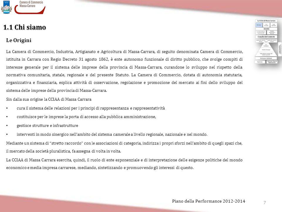 7 Piano della Performance 2012-2014 1.1 Chi siamo La Camera di Commercio, Industria, Artigianato e Agricoltura di Massa-Carrara, di seguito denominata