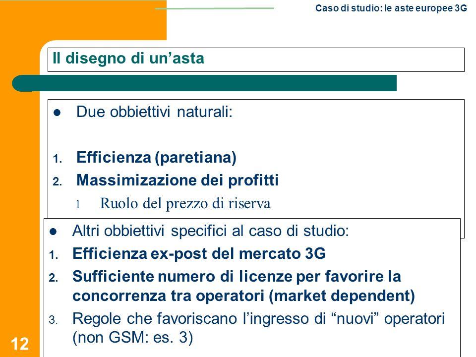 12 Caso di studio: le aste europee 3G Il disegno di un'asta Due obbiettivi naturali: 1. Efficienza (paretiana) 2. Massimizazione dei profitti l Ruolo