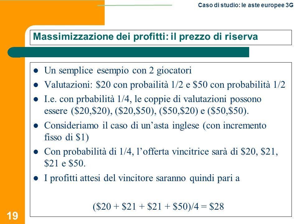 19 Caso di studio: le aste europee 3G Massimizzazione dei profitti: il prezzo di riserva Un semplice esempio con 2 giocatori Valutazioni: $20 con prob