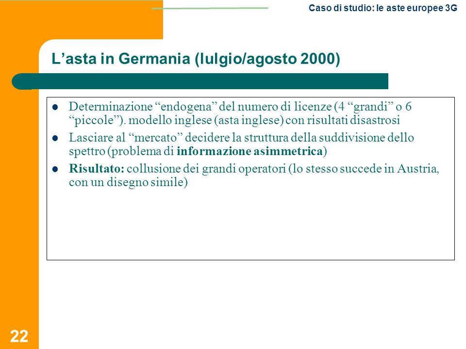 """22 Caso di studio: le aste europee 3G Determinazione """"endogena"""" del numero di licenze (4 """"grandi"""" o 6 """"piccole""""). modello inglese (asta inglese) con r"""