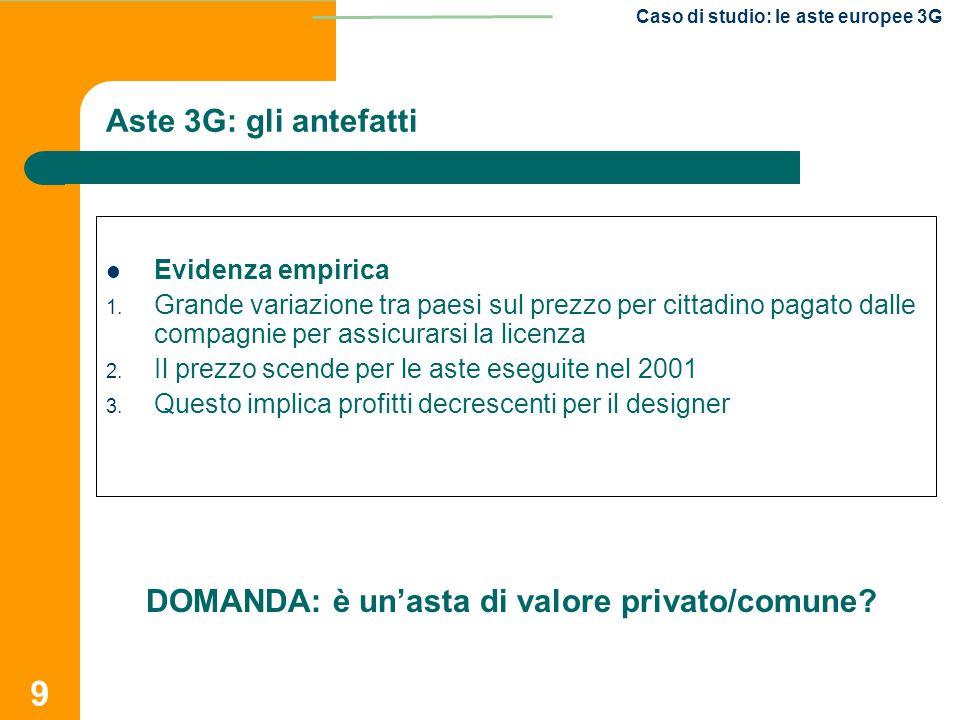 9 Caso di studio: le aste europee 3G Aste 3G: gli antefatti Evidenza empirica 1. Grande variazione tra paesi sul prezzo per cittadino pagato dalle com