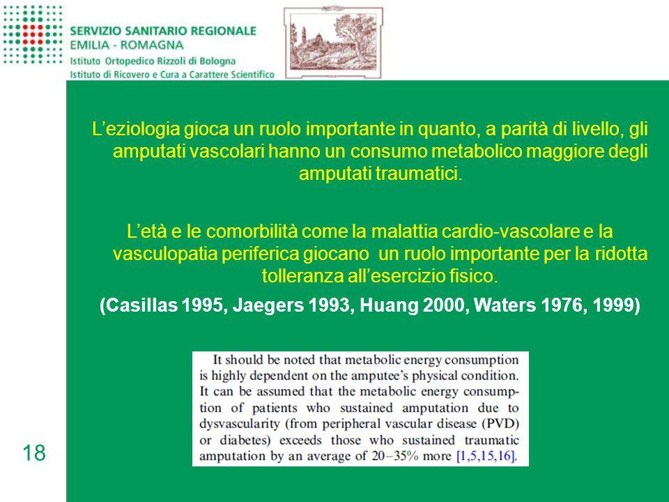 18 L'eziologia gioca un ruolo importante in quanto, a parità di livello, gli amputati vascolari hanno un consumo metabolico maggiore degli amputati tr