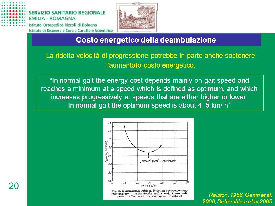 """20 La ridotta velocità di progressione potrebbe in parte anche sostenere l'aumentato costo energetico. Costo energetico della deambulazione """"In normal"""