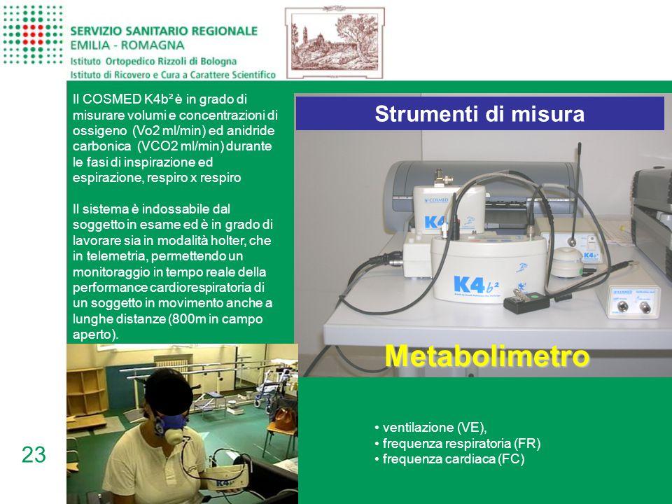 23 Metabolimetro Il COSMED K4b² è in grado di misurare volumi e concentrazioni di ossigeno (Vo2 ml/min) ed anidride carbonica (VCO2 ml/min) durante le