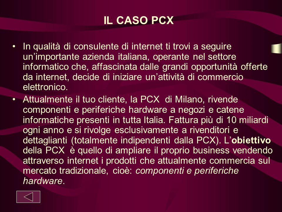 IL CASO PCX In qualità di consulente di internet ti trovi a seguire un'importante azienda italiana, operante nel settore informatico che, affascinata