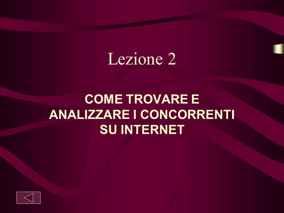 Lezione 2 COME TROVARE E ANALIZZARE I CONCORRENTI SU INTERNET