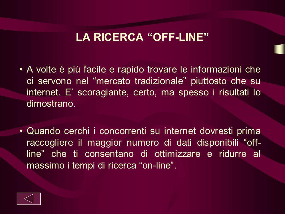 """LA RICERCA """"OFF-LINE"""" A volte è più facile e rapido trovare le informazioni che ci servono nel """"mercato tradizionale"""" piuttosto che su internet. E' sc"""