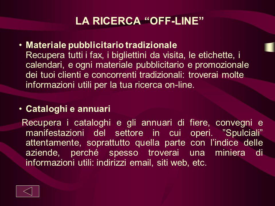 """LA RICERCA """"OFF-LINE"""" Materiale pubblicitario tradizionale Recupera tutti i fax, i bigliettini da visita, le etichette, i calendari, e ogni materiale"""