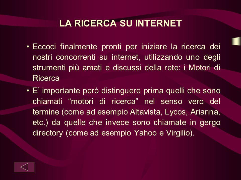 LA RICERCA SU INTERNET Eccoci finalmente pronti per iniziare la ricerca dei nostri concorrenti su internet, utilizzando uno degli strumenti più amati