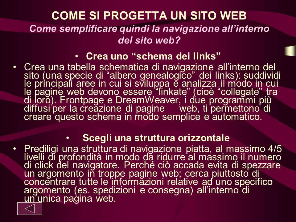 """COME SI PROGETTA UN SITO WEB Come semplificare quindi la navigazione all'interno del sito web? Crea uno """"schema dei links"""" Crea una tabella schematica"""