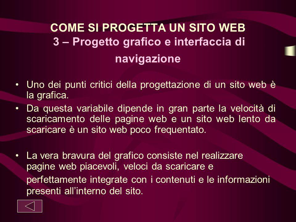 COME SI PROGETTA UN SITO WEB 3 – Progetto grafico e interfaccia di navigazione Uno dei punti critici della progettazione di un sito web è la grafica.