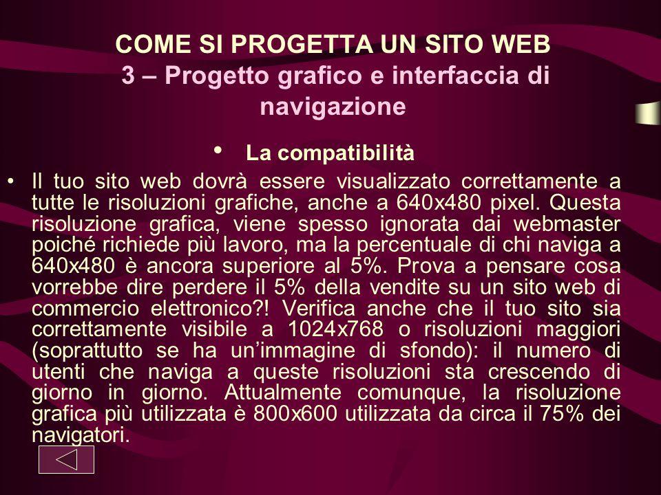 COME SI PROGETTA UN SITO WEB 3 – Progetto grafico e interfaccia di navigazione La compatibilità Il tuo sito web dovrà essere visualizzato correttament