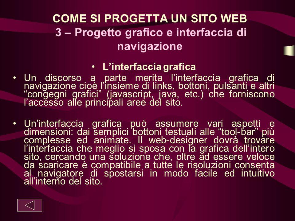 COME SI PROGETTA UN SITO WEB 3 – Progetto grafico e interfaccia di navigazione L'interfaccia grafica Un discorso a parte merita l'interfaccia grafica
