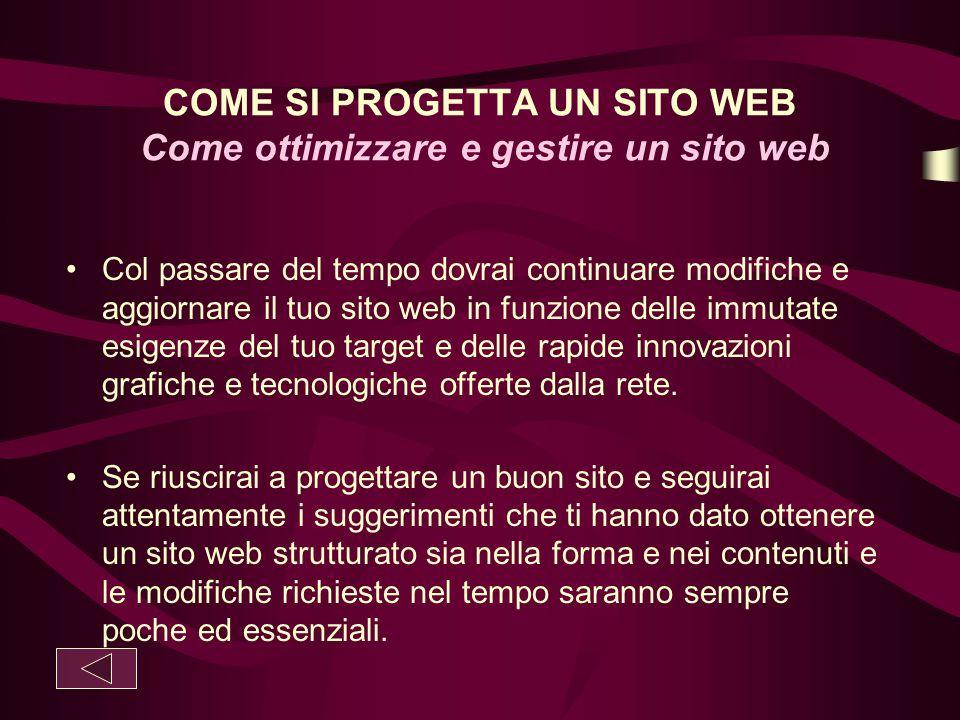 COME SI PROGETTA UN SITO WEB Come ottimizzare e gestire un sito web Col passare del tempo dovrai continuare modifiche e aggiornare il tuo sito web in