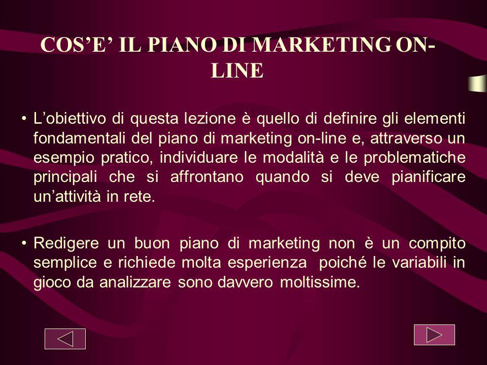 COS'E' IL PIANO DI MARKETING ON- LINE L'obiettivo di questa lezione è quello di definire gli elementi fondamentali del piano di marketing on-line e, a