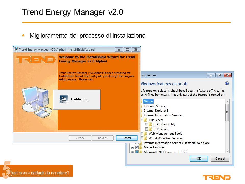 Trend Energy Manager v2.0  Miglioramento del processo di installazione uali motivi l'hanno generato.