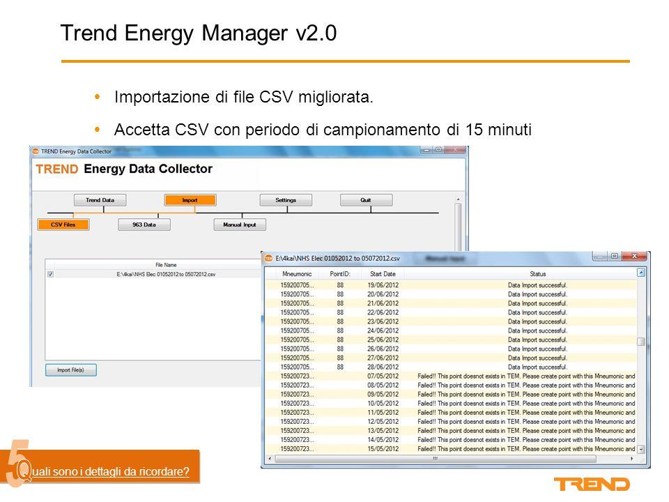 Trend Energy Manager v2.0  Importazione di file CSV migliorata.