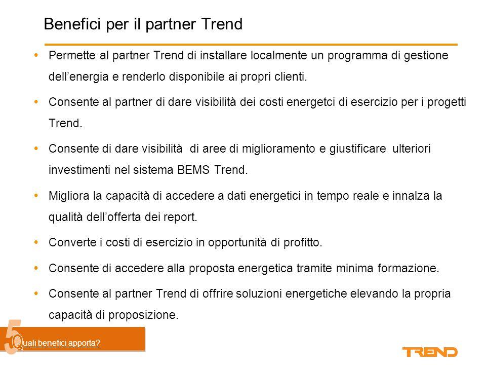 Benefici per il partner Trend  Permette al partner Trend di installare localmente un programma di gestione dell'energia e renderlo disponibile ai propri clienti.