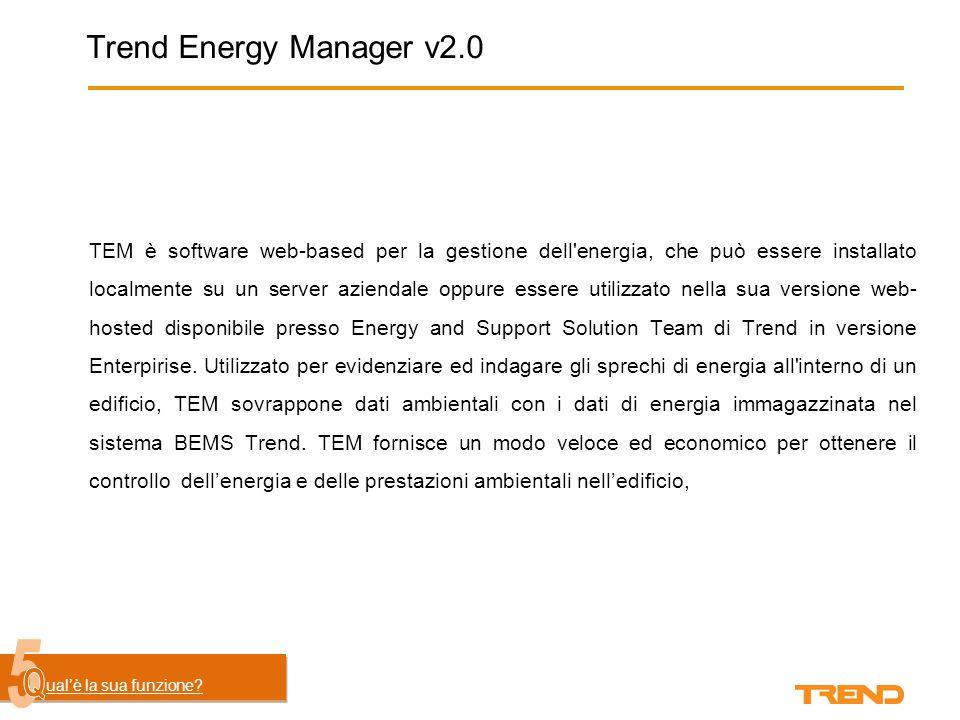 Trend Energy Manager v2.0 TEM è software web-based per la gestione dell energia, che può essere installato localmente su un server aziendale oppure essere utilizzato nella sua versione web- hosted disponibile presso Energy and Support Solution Team di Trend in versione Enterpirise.
