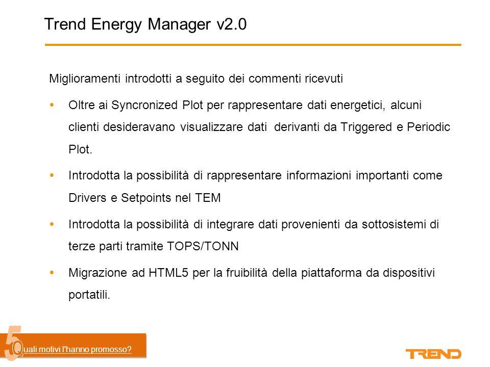 Trend Energy Manager v2.0 Miglioramenti introdotti a seguito dei commenti ricevuti  Miglioramento del processo di installazione, impostazione automatica dei servizi IIS e credeziali di accesso al database SQL.