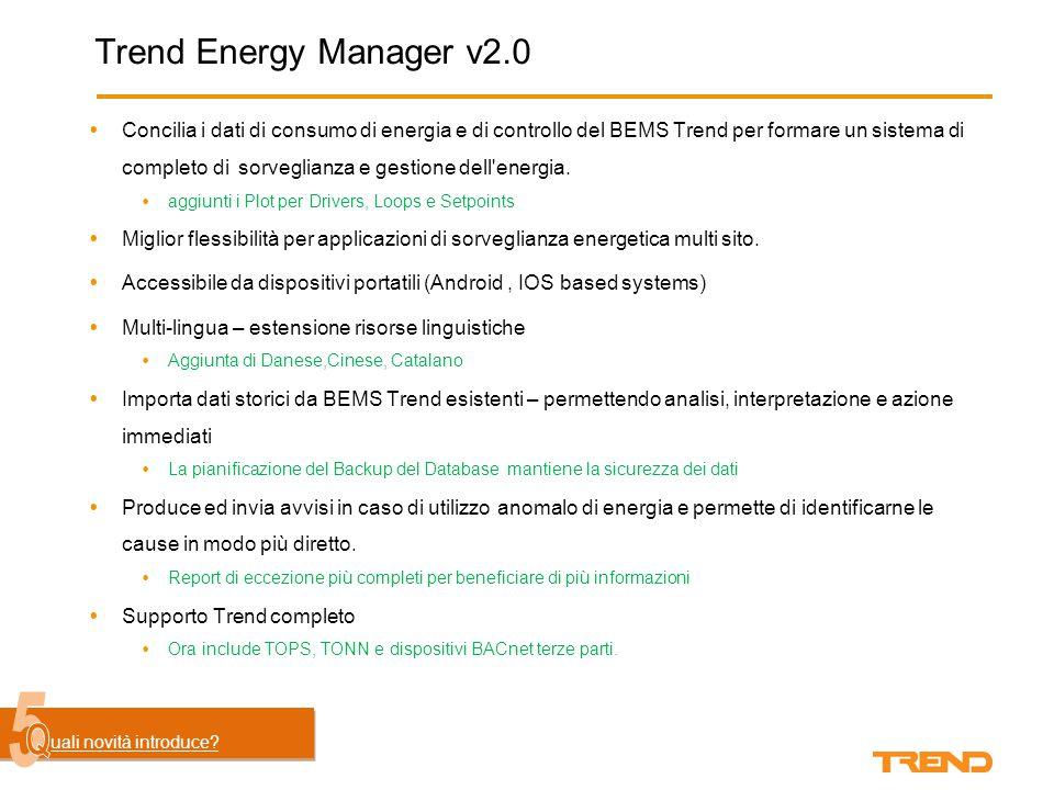 Trend Energy Manager v2.0  Concilia i dati di consumo di energia e di controllo del BEMS Trend per formare un sistema di completo di sorveglianza e gestione dell energia.