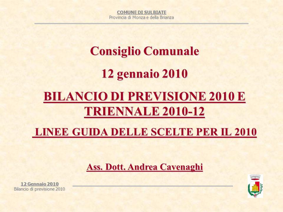 COMUNE DI SULBIATE Provincia di Monza e della Brianza 12 Gennaio 2010 Bilancio di previsione 2010 LINEE GUIDA SULLE USCITE CORRENTI 7- Territorio e ambiente: si conferma la previsione definitiva 2009.