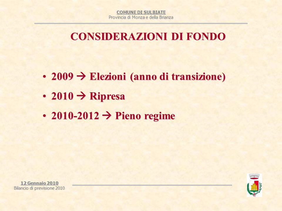 COMUNE DI SULBIATE Provincia di Monza e della Brianza 12 Gennaio 2010 Bilancio di previsione 2010 ANALISI DELLE ENTRATE Tabella di raffronto che mette in relazione anni precedenti con il 2010 suddividendo per titolo.