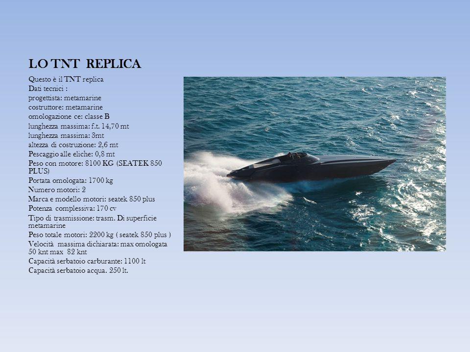 LO TNT REPLICA Questo è il TNT replica Dati tecnici : progettista: metamarine costruttore: metamarine omologazione ce: classe B lunghezza massima: f.t.