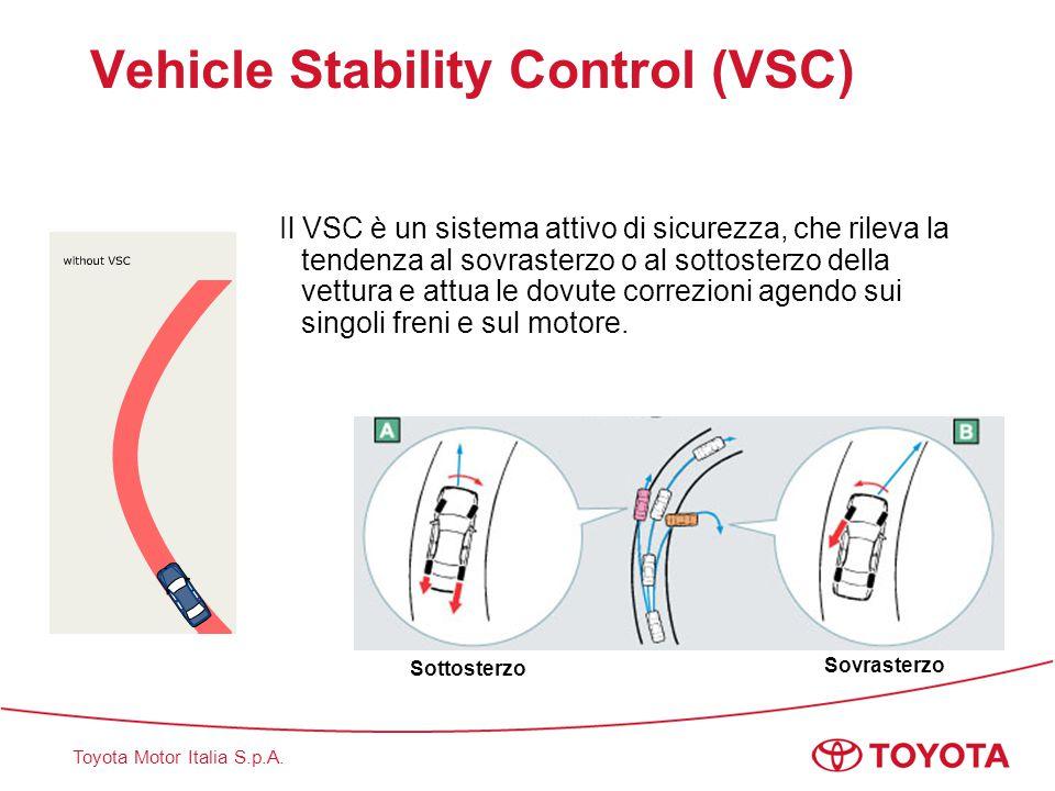 Toyota Motor Italia S.p.A. Vehicle Stability Control (VSC) Il VSC è un sistema attivo di sicurezza, che rileva la tendenza al sovrasterzo o al sottost