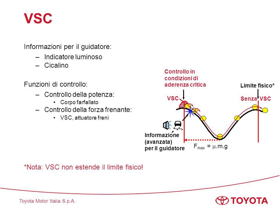 Toyota Motor Italia S.p.A. VSC Informazioni per il guidatore: –Indicatore luminoso –Cicalino Funzioni di controllo: –Controllo della potenza: Corpo fa