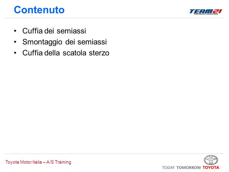 Toyota Motor Italia – A/S Training Cuffia dei semiassi Inserimento del semiasse Semiasse In contatto con la scanalatura Ingranaggio lato differenziale Anello elastico Scanalatura giunto interno